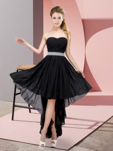 Sweetheart Sleeveless Lace Up Vestidos de Damas Black Chiffon