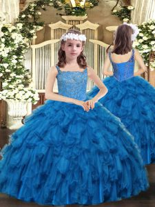 New Arrival Floor Length Blue Girls Pageant Dresses Straps Sleeveless Lace Up