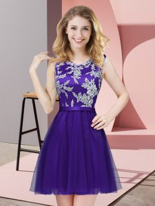 High End Purple Sleeveless Mini Length Lace Side Zipper Quinceanera Court of Honor Dress