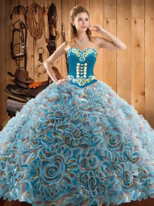 Lovely Multi-color Sleeveless With Train Embroidery Lace Up Vestidos de Quinceanera