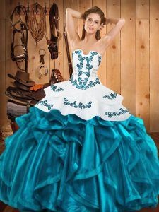 Embroidery and Ruffles Quinceanera Gowns Teal Lace Up Sleeveless Floor Length