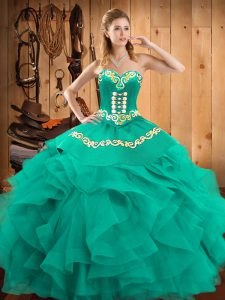 Delicate Floor Length Turquoise 15 Quinceanera Dress Sweetheart Sleeveless Lace Up