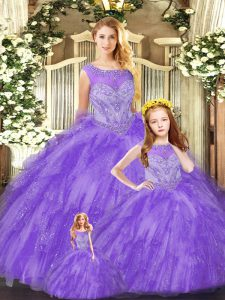 Pretty Eggplant Purple Sleeveless Floor Length Beading and Ruffles Lace Up Quinceanera Gowns