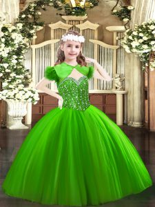 Simple Green Straps Neckline Beading Little Girls Pageant Dress Sleeveless Lace Up