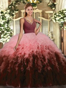 Organza Sleeveless Floor Length Ball Gown Prom Dress and Ruffles