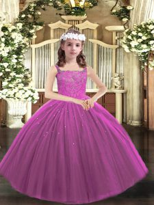 Modern Tulle Straps Sleeveless Lace Up Beading Custom Made Pageant Dress in Purple