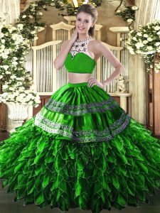 Green Quinceanera Gowns Military Ball and Sweet 16 and Quinceanera with Beading and Ruffles High-neck Sleeveless Backless