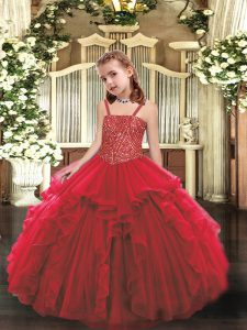 Fashion Organza Straps Sleeveless Lace Up Beading and Ruffles Little Girl Pageant Dress in Red