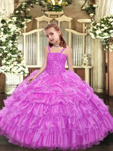 Nice Lilac Sleeveless Beading and Ruffled Layers and Pick Ups Floor Length Little Girls Pageant Dress