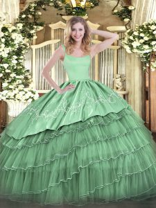 Green Ball Gowns Embroidery and Ruffled Layers Quinceanera Gowns Zipper Organza Sleeveless Floor Length