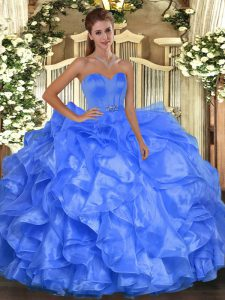 Latest Blue Sleeveless Beading and Ruffles Floor Length Vestidos de Quinceanera
