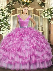 Romantic Lilac V-neck Zipper Ruffled Layers Vestidos de Quinceanera Sleeveless