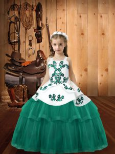 Straps Sleeveless Lace Up Pageant Dress Wholesale Turquoise Tulle