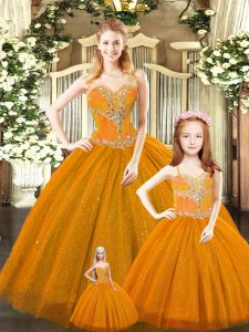 Hot Sale Floor Length Lace Up Vestidos de Quinceanera Rust Red for Military Ball and Sweet 16 and Quinceanera with Beading