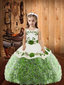 Floor Length Lace Up Kids Formal Wear Multi-color for Sweet 16 and Quinceanera with Embroidery and Ruffles