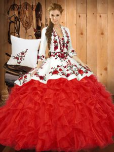 Inexpensive Red Tulle Lace Up Quince Ball Gowns Sleeveless Floor Length Embroidery and Ruffles