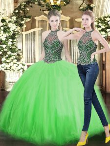 Perfect Ball Gowns Quinceanera Gown High-neck Tulle Sleeveless Floor Length Lace Up