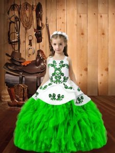 Ball Gowns Straps Sleeveless Organza Floor Length Lace Up Embroidery and Ruffles Kids Pageant Dress