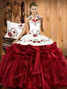 Modern Wine Red Organza Lace Up Halter Top Sleeveless Floor Length Quince Ball Gowns Embroidery and Ruffles