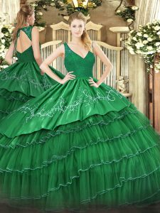 Hot Selling Dark Green Backless V-neck Beading and Lace and Embroidery and Ruffled Layers Sweet 16 Dress Organza and Taffeta Sleeveless