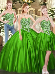 Beautiful Green Tulle Lace Up Sweetheart Sleeveless Floor Length Quinceanera Gown Beading