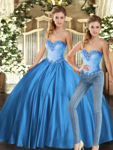 Baby Blue Sweetheart Lace Up Beading Quinceanera Dresses Sleeveless