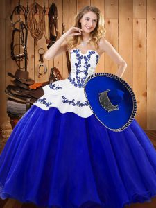 Extravagant Royal Blue Sleeveless Tulle Lace Up 15 Quinceanera Dress for Military Ball and Sweet 16 and Quinceanera