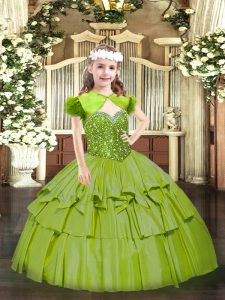 High Quality Beading and Ruffled Layers Little Girls Pageant Dress Wholesale Olive Green Lace Up Sleeveless Floor Length