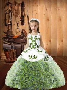 Multi-color Sleeveless Embroidery and Ruffles Floor Length Little Girl Pageant Dress