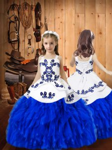 Sleeveless Lace Up Floor Length Embroidery and Ruffles Kids Formal Wear
