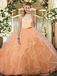 Custom Designed Peach Ball Gowns Ruffles Quince Ball Gowns Backless Tulle Sleeveless Floor Length