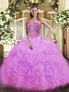 New Arrival Lilac Lace Up Sweetheart Beading and Ruffles 15 Quinceanera Dress Organza Sleeveless