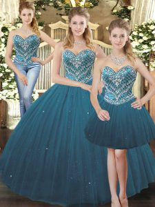 Glorious Floor Length Teal Vestidos de Quinceanera Sweetheart Sleeveless Lace Up