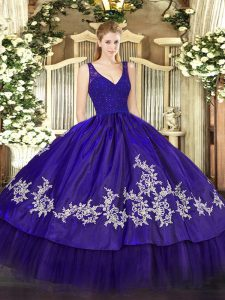 Taffeta V-neck Sleeveless Zipper Beading and Appliques Sweet 16 Dress in Purple