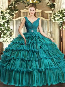 Floor Length Teal Ball Gown Prom Dress Organza Sleeveless Beading and Ruffled Layers