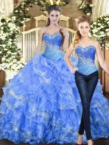 Sleeveless Floor Length Beading and Ruffles Lace Up Quince Ball Gowns with Baby Blue
