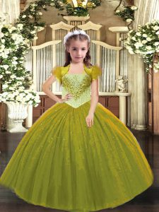 Floor Length Lace Up Little Girl Pageant Gowns Olive Green for Sweet 16 and Quinceanera with Beading