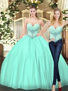 Apple Green Two Pieces Sweetheart Sleeveless Tulle Floor Length Lace Up Beading Sweet 16 Quinceanera Dress