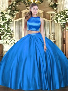 Two Pieces Ball Gown Prom Dress Blue High-neck Tulle Sleeveless Floor Length Criss Cross