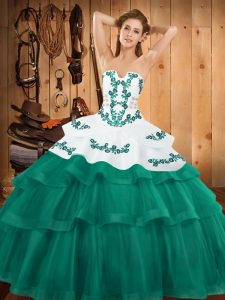 Turquoise Ball Gowns Strapless Sleeveless Tulle Sweep Train Lace Up Embroidery and Ruffled Layers 15th Birthday Dress