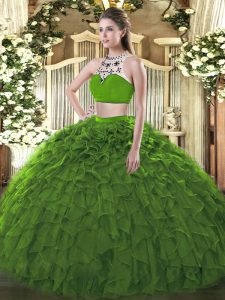 Adorable Dark Green Sleeveless Floor Length Beading and Ruffles Backless Quinceanera Dresses