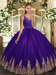 Discount Eggplant Purple Tulle Backless V-neck Sleeveless Floor Length Quinceanera Dresses Appliques