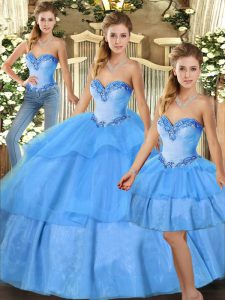 Stunning Baby Blue Ball Gowns Organza Sweetheart Sleeveless Beading and Ruffled Layers Floor Length Lace Up Sweet 16 Quinceanera Dress