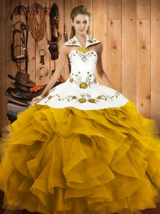 Ball Gowns Vestidos de Quinceanera Gold Halter Top Tulle Sleeveless Floor Length Lace Up