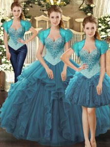 Suitable Straps Sleeveless Tulle Vestidos de Quinceanera Beading and Ruffles Lace Up