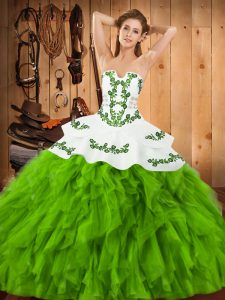 Vintage Sleeveless Floor Length Embroidery and Ruffles Lace Up Sweet 16 Quinceanera Dress with