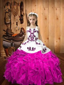 Latest Sleeveless Lace Up Floor Length Embroidery and Ruffles Child Pageant Dress