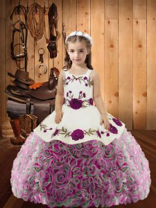 Nice Sleeveless Lace Up Floor Length Embroidery and Ruffles Little Girls Pageant Dress