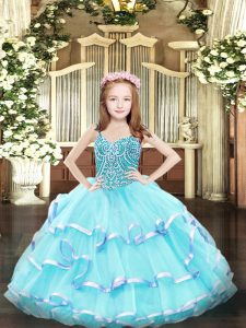 Sleeveless Floor Length Beading and Ruffled Layers Lace Up Custom Made Pageant Dress with Aqua Blue