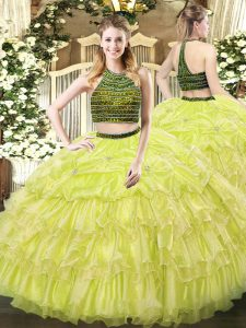 Yellow Green Zipper Halter Top Beading and Ruffled Layers Sweet 16 Dress Organza Sleeveless